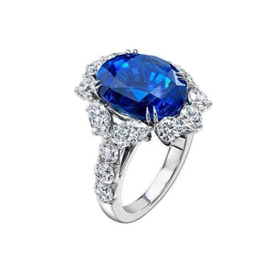 ON SALE - Coralie En Bleu 4CT Oval Floral Halo IOBI Simulated Diamond Ring