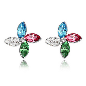 Colorful Pinwheels Austrian Crystal Stud Earrings