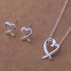 Cross My Heart Sterling Silver Necklace and Earrings Set