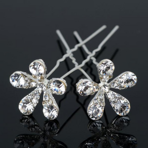 Small Crystal Encrusted Flower Silver Plated Hair Pins