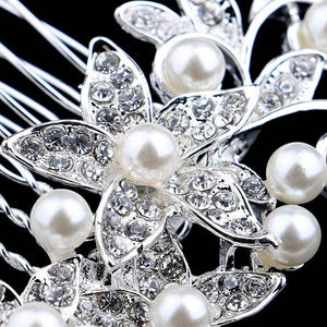 Sparkling Garden Crystal and Pearl Accented Hair Comb for Woman Special Occasion Bridal Prom