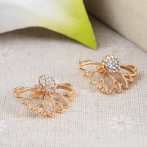 Lotus Flower Crystal Stud Earrings & Jacket