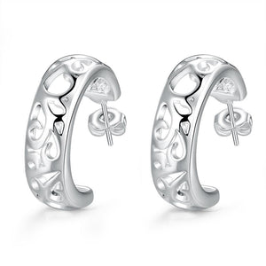 CLEARANCE - Cut Out Silver Open Hoop Earrings