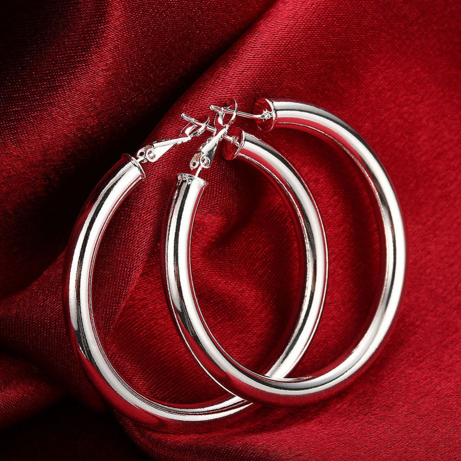 Cylindrical Hoops Silver Earrings