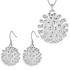 Dandelion Sterling Silver Matching Necklace and Earrings Set