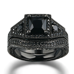 ON SALE - Dark Desire Princess Cut Black CZ Engagement Ring Set