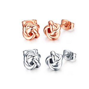 14K Gold Plated Delicate Love Knot Stud Earrings in Rose or White Gold For Woman