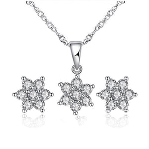 ON SALE - Fresh Flowers Zirconia Necklace and Earrings Set