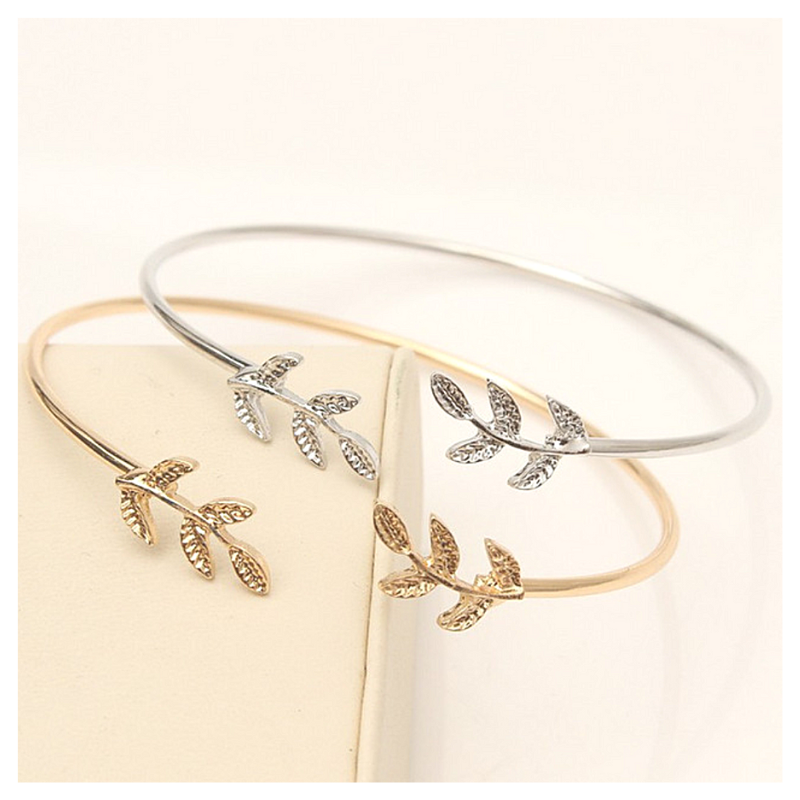 Skinny Leaf Bangle Cuff Bracelet