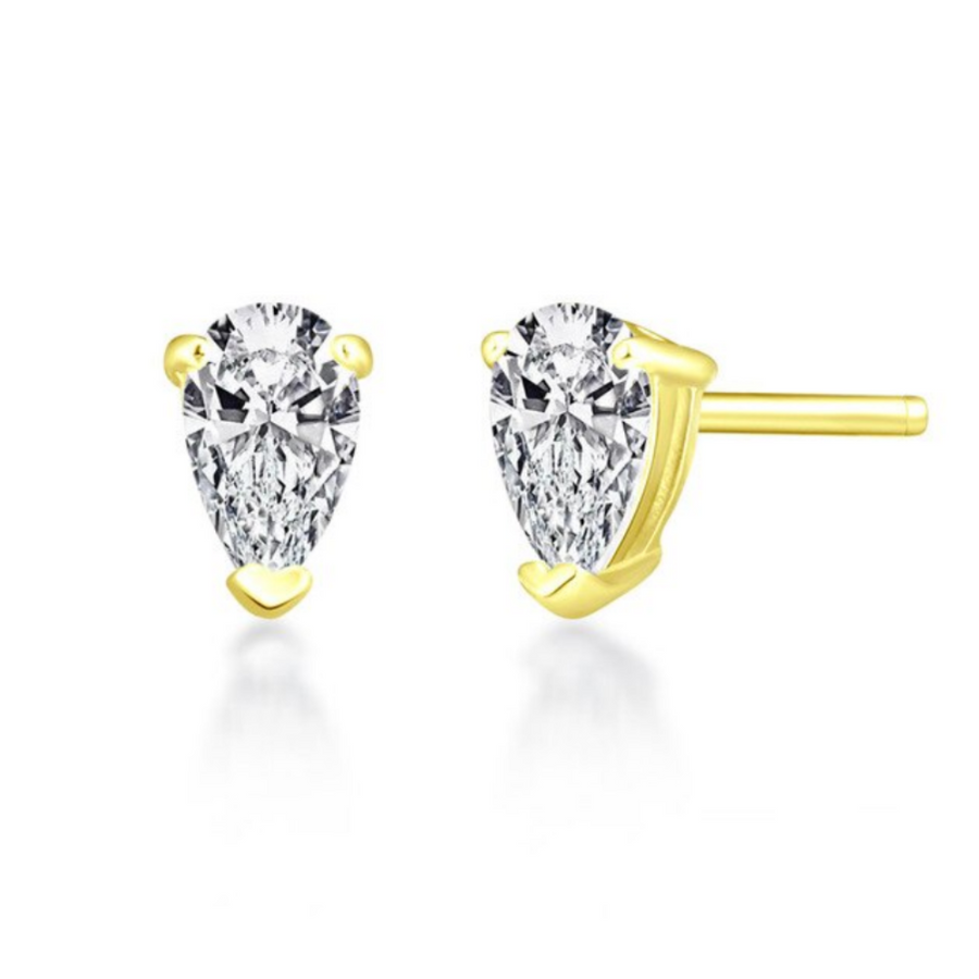 Delicata Sterling Silver Pear Shape .35CT IOBI Simulated Diamond Solitaire Stud Earrings For Woman