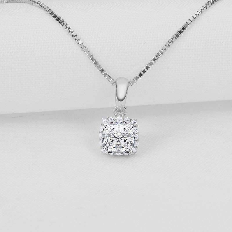 Delilah .5CT Cushion Cut Halo IOBI Simulated Diamond Solitaire Pendant