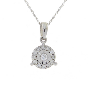 Genuine Diamond Halo Necklace .25ct Round Cut Pendant 10KT White Gold Chain For Woman