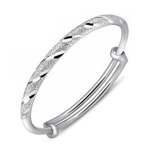 Diamond Cut Frosted Lines Adjustable Bangle Bracelet