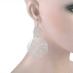 ON SALE - Dangling Filigree Disc Earrings in Gold or Silver