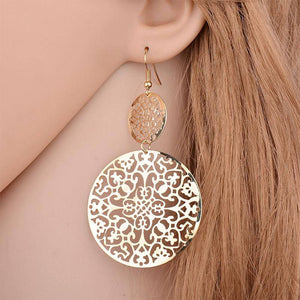Dangling Filigree Disc Earrings in Gold or Silver For Woman