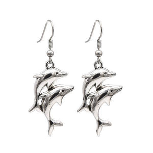 Double Dolphin Silver Earrings