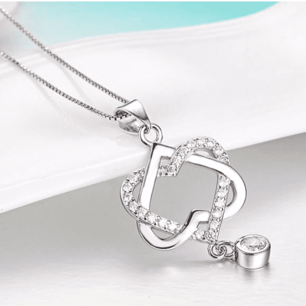 ON SALE - Interlocked Heart Drop CZ Pendant Necklace