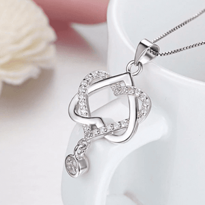 14K White Gold Plated Interlocked Heart Drop CZ Pendant Necklace For Woman