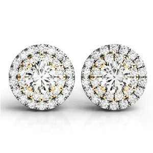 Angelique Double Halo IOBI Simulated Diamond Stud Earrings For Woman