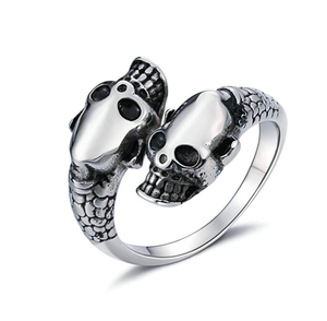 Double Skulls Stainless Steel Ring