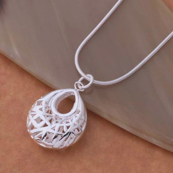 Droplet Silver Filigree Cage Necklace