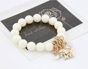 Lucky Elephant Charm Bead Bracelet - 2 Colors