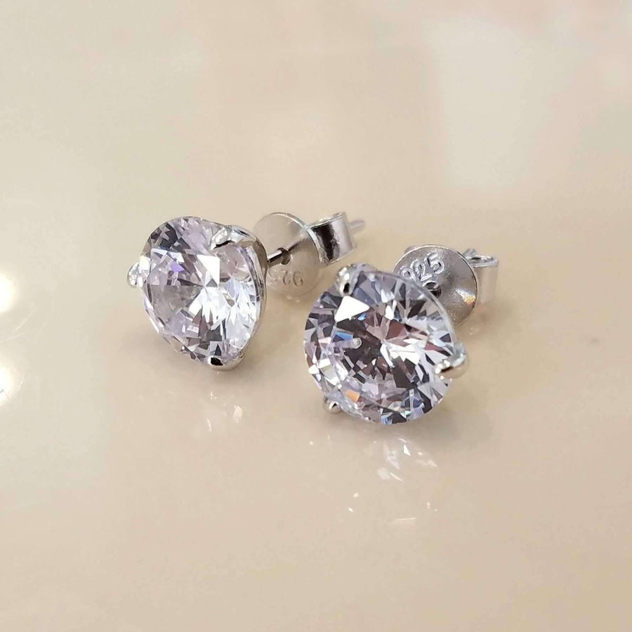 Elite 14K White Gold Round Three Prong IOBI Simulated Diamond Stud Earrings