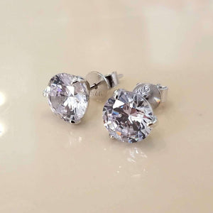 Elite Round Three Prong IOBI Simulated Diamond Solitaire Sterling Silver Stud Earrings for Women