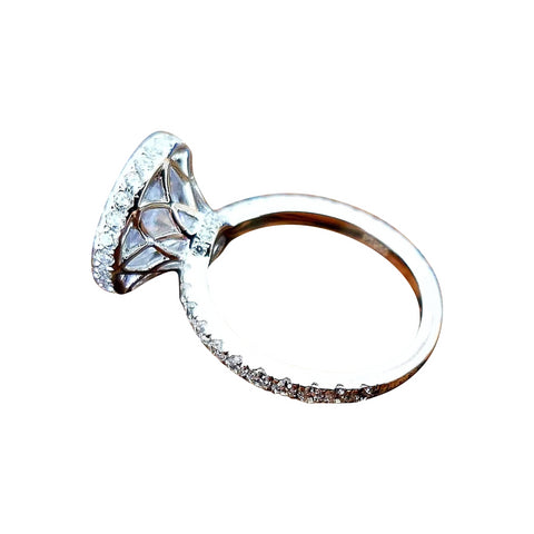 Evangeline 4CT French Pavé Halo In Decorative Crown IOBI Cultured Diamond Ring