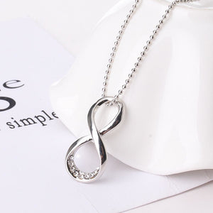 14K White Gold Plated Shine Bright Infinity Symbol Cz Pendant Necklace For Woman