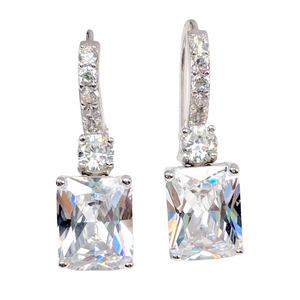Exquisite Emerald Cut 4CT Triple 14K White Gold Plated Dangling CZ Earrings For Woman