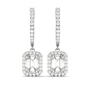 ON SALE - Fae 1.06CT Emerald Halo IOBI Simulated Diamond Earrings