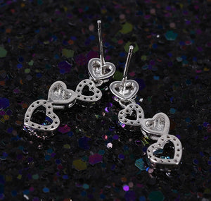 Falling Hearts CZ Necklace and Earrings Set