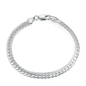Fancy Edged Herringbone Sterling Silver Bracelet