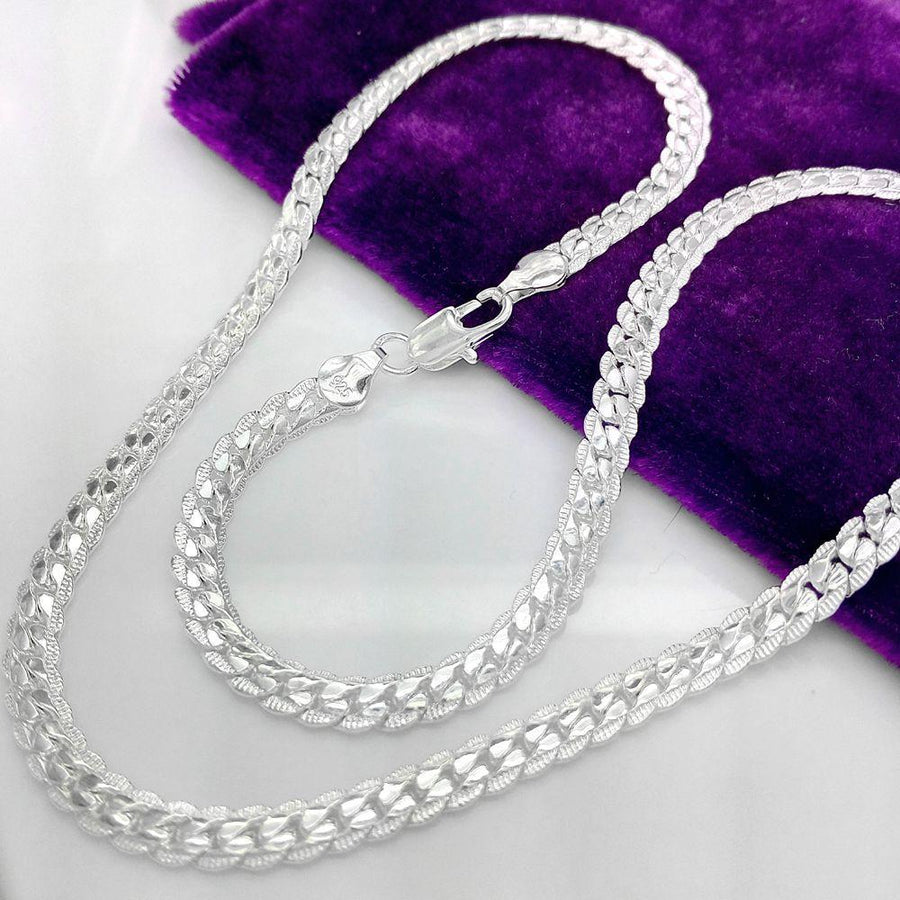 20 inch Fancy Edged Herringbone Sterling Silver Necklace