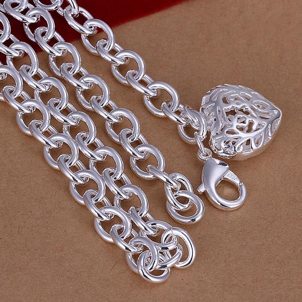 ON SALE - Fancy Scroll Puffed Heart Charm Necklace