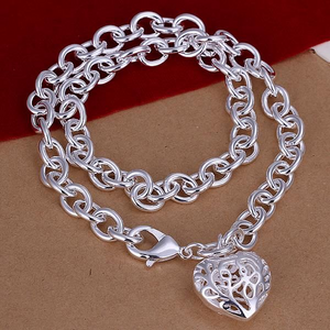 Fancy Scroll Puffed Heart Charm Necklace