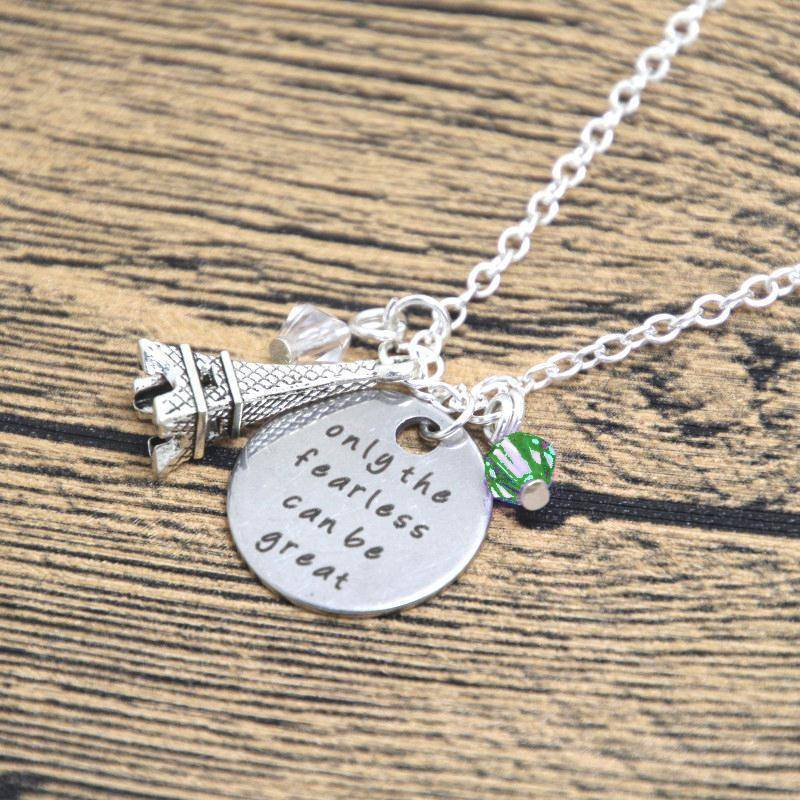 ON SALE - Only The Fearless Can Be Great - Stamped Sentiment Necklace
