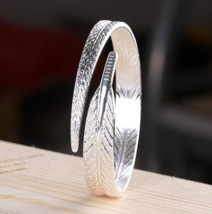 Etched Feather Bangle Cuff Bracelet