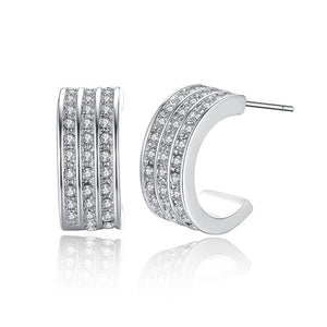 Flashy CZ Half Hoop Earrings