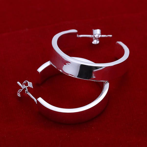 Flat Silver Hoop Stud Earrings