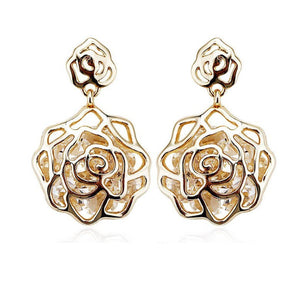 14K Gold Plated Floating Diamonds Roselet Earrings For Woman