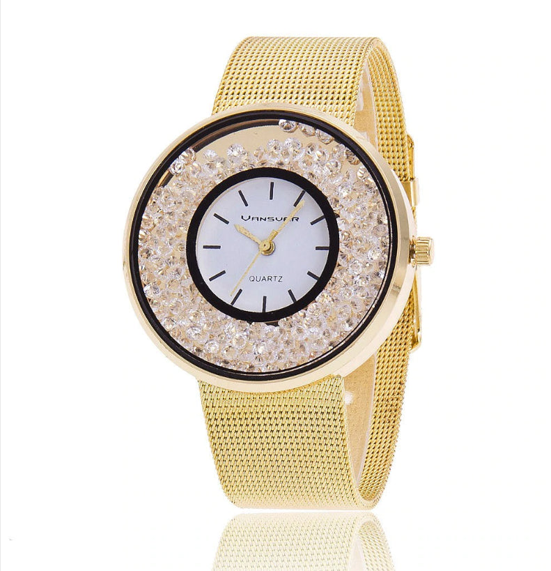 ON SALE - Floating Diamond Crystal Bezel Ladies Watch