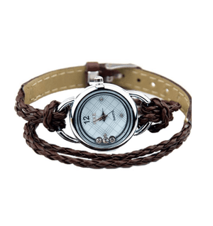CLEARANCE - Floating Sparkles Leather Braided Wrap Watch
