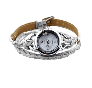 Floating Sparkles Leather Braided Wrap Watch For Woman