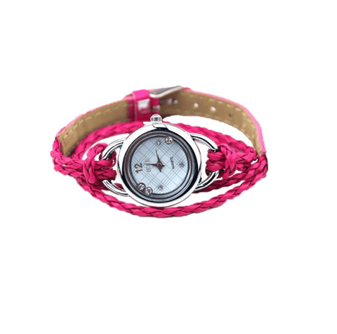 Floating Sparkles Leather Braided Wrap Watch