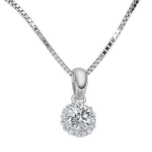 Flora .36CT Round Cut Halo IOBI Simulated Diamond Solitaire Sterling Silver Pendant for Women