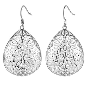 Floral Puff Drops Silver Earrings