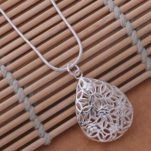 ON SALE - Floral Puff Drop Silver Necklace