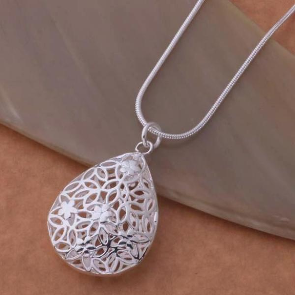 Floral Puff Drop Silver Necklace